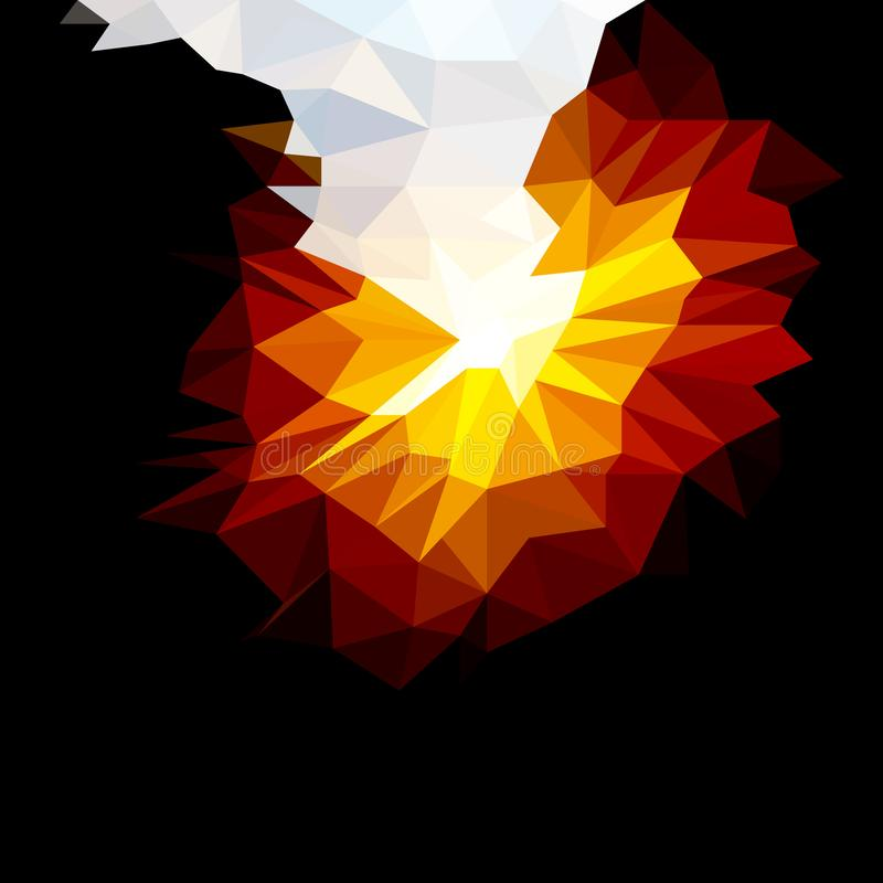 Vector Abstract Background of Fire in Darkness. Wallpaper of Natural Element in Low Poly Style. Vector Illustration of Natural Fond. Nature backdrop. Ecology vector illustration