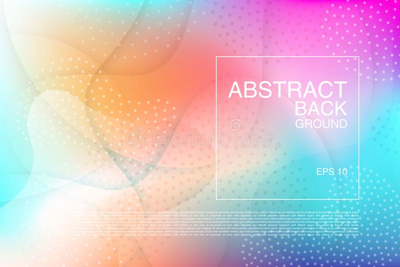 Vector abstract background. Fradient fluid wavy effect backdrop. Colorful texture with wavy amd dotted motif. Banner. Flyer, cover template design. Bright vector illustration