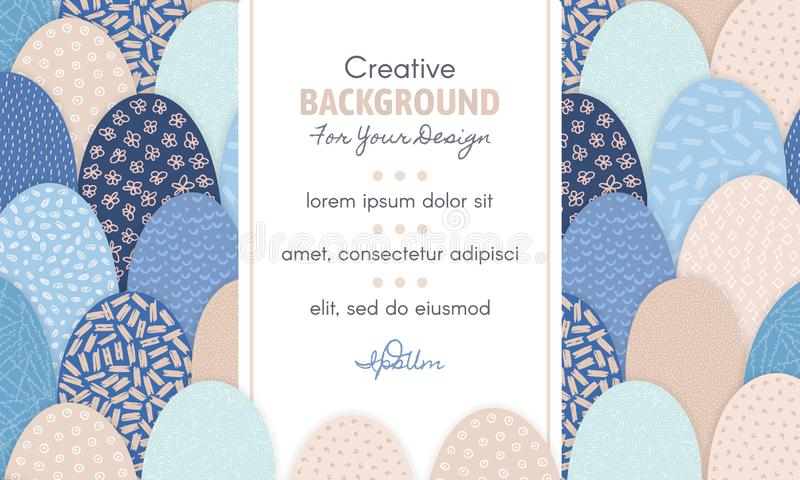 Vector abstract background with frame in centre and hand drawn textured arc shapes. It looks like hills or squama. Freehand style. Header, mailing, banner vector illustration