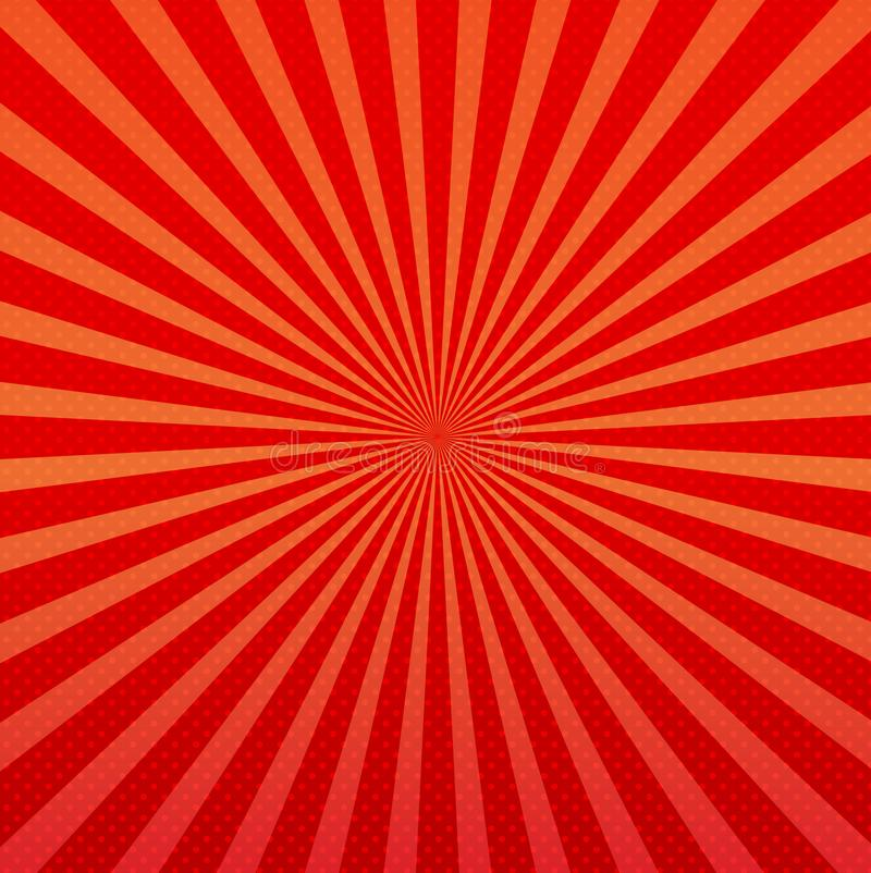 Vector abstract background of orange and red star burst rays royalty free illustration