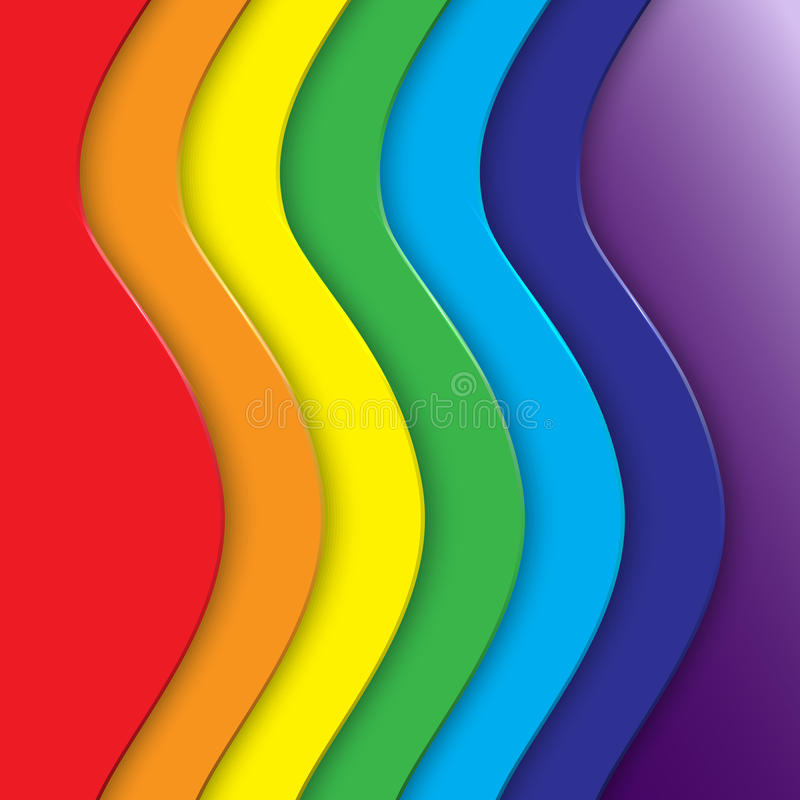 Vector abstract background with rainbow curve lines stock illustration