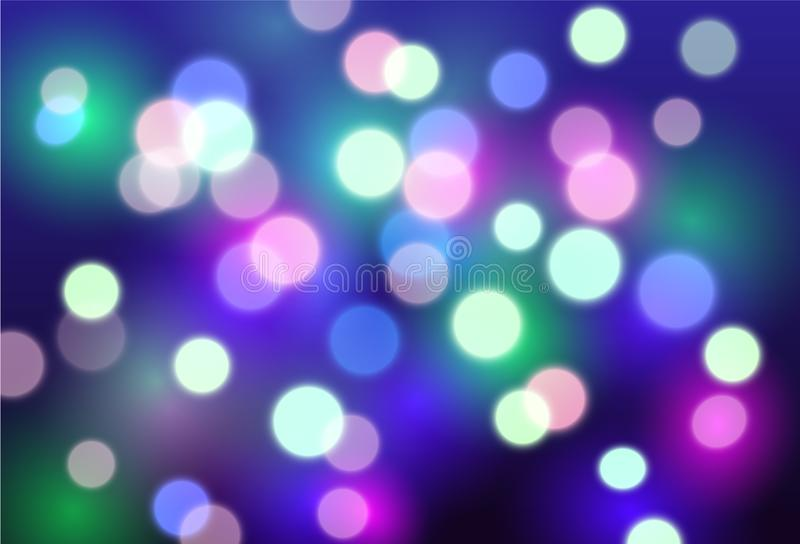 Vector abstract background with red, purple and blue blurred lights - disco, celebration, party concept vector illustration
