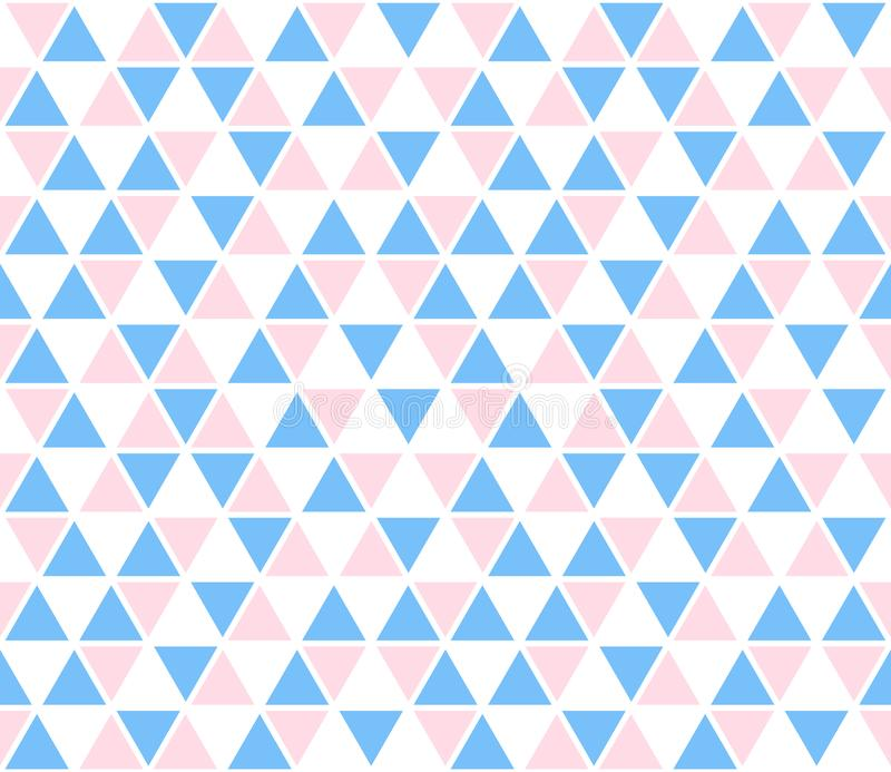 Vector abstract background, seamless pattern. Blue pink white triangle shapes texture. Kids geometric mosaic pattern royalty free illustration