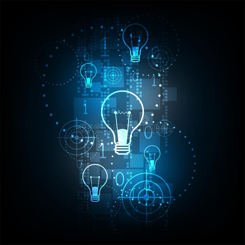 Digital technology in light bulb concept. Vector abstract background shows the innovation of technology and technology concepts stock illustration