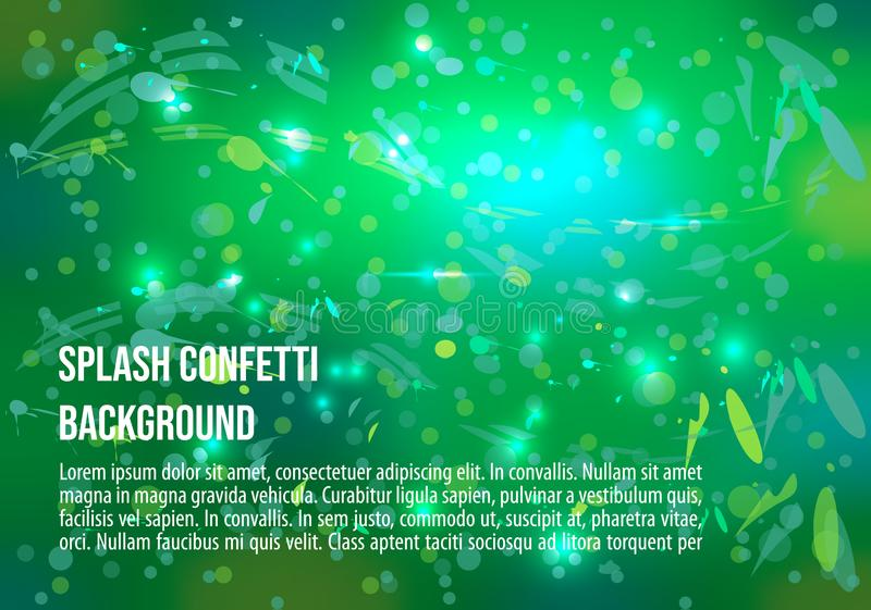 Vector abstract background with splash and glitter in green colo. R. EPS10 royalty free illustration