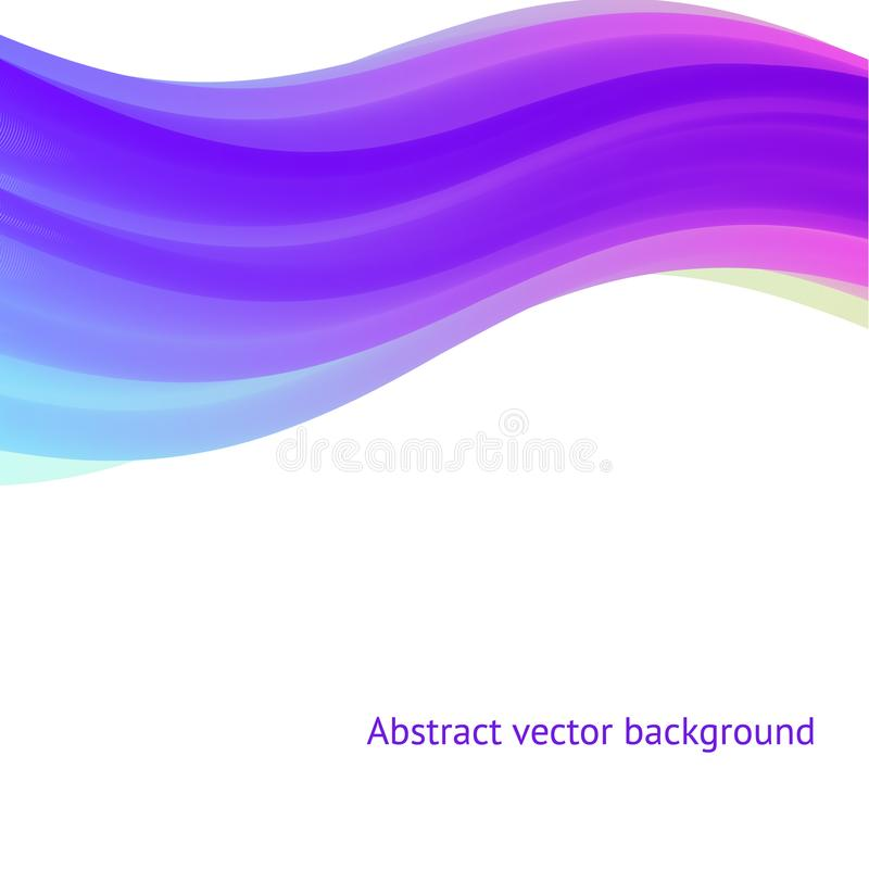 Vector abstract background, violet, blue, lilac, pink wave. Template for web design, printing, banner, poster stock illustration
