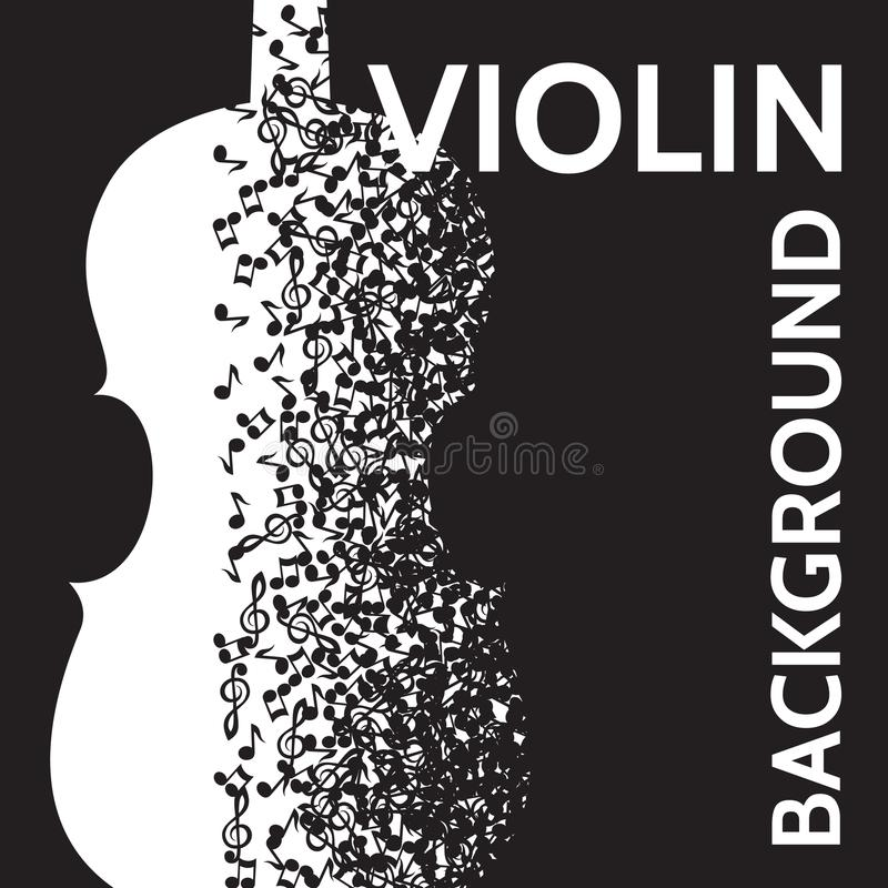 Free Vector Abstract Background With Violin And Notes Royalty Free Stock Photography - 117799427