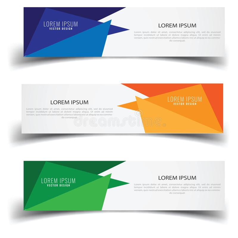Vector abstract banner design web template. Abstract geometric design banner web template on white background. Header footer Web D royalty free illustration