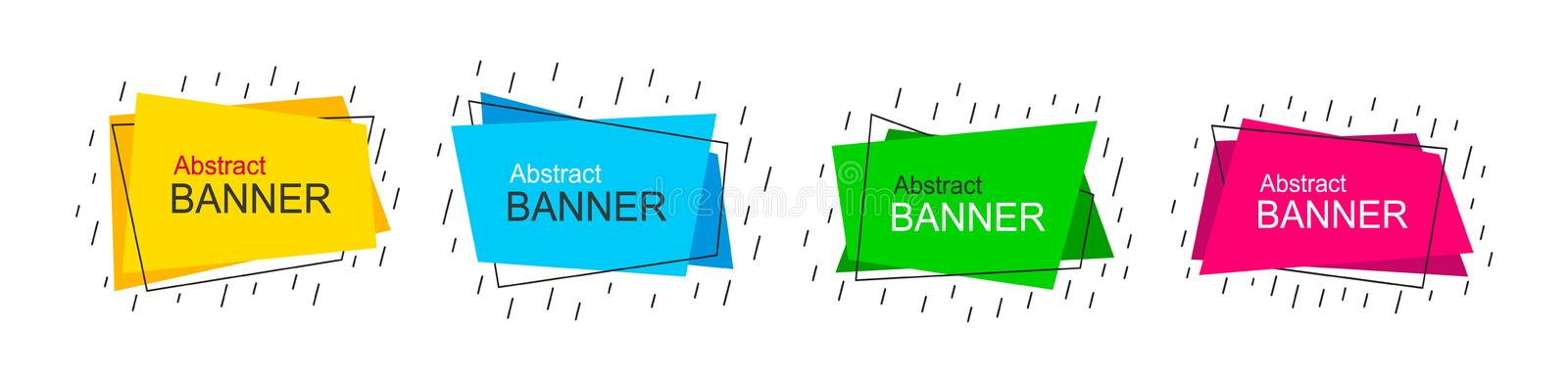 Vector abstract banners. Flat style geometric shapes. royalty free illustration