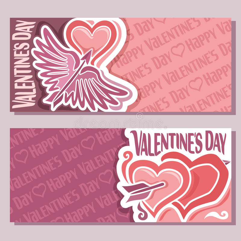 Vector abstract banners for Happy Valentine`s Day royalty free illustration
