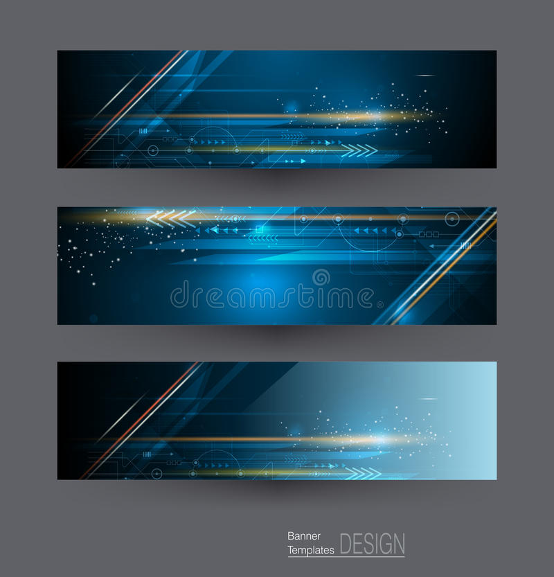 Vector abstract banners set with image of speed movement pattern and motion blur over dark blue color. Abstract banners set with image of circuit board, speed royalty free illustration