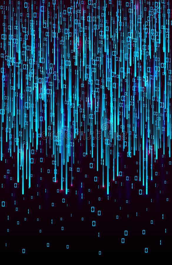 Vector abstract big data visualization. Blue flow of data as matrix code strings. stock image