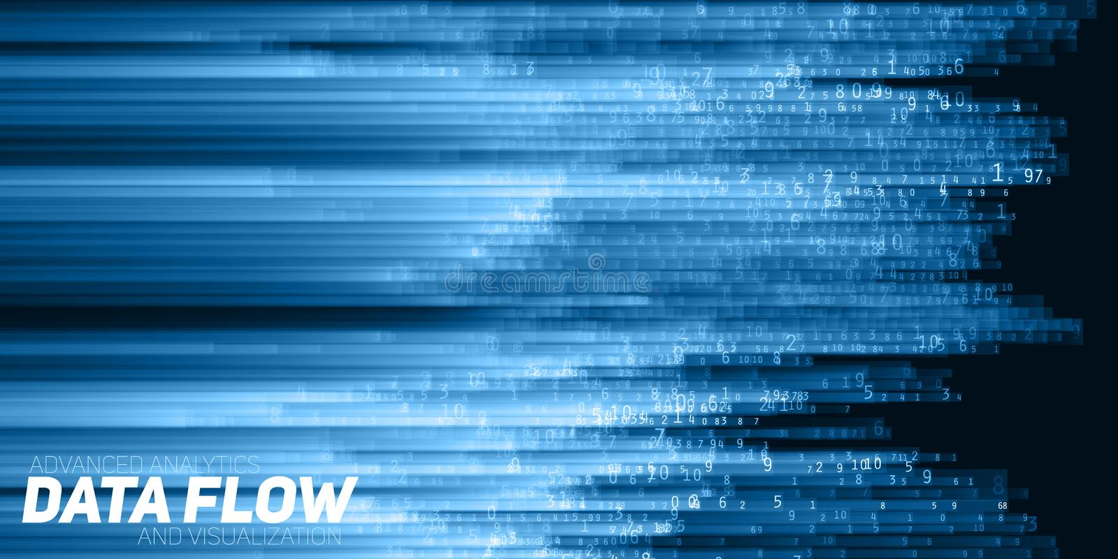 Vector abstract big data visualization. Blue flow of data as numbers strings. Information code representation. Cryptographic analysis. Bitcoin, blockchain royalty free illustration