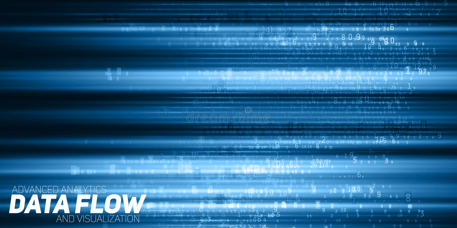 Vector abstract big data visualization. Blue flow of data as numbers strings. Information code representation. Cryptographic analysis. Bitcoin, blockchain stock illustration