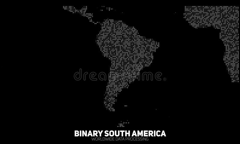 Vector abstract binary South America map. Continents constructed from binary numbers. Global information network. vector illustration