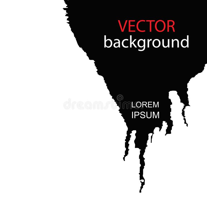 Vector abstract black and white background. Slick black paint on a white background. stock illustration