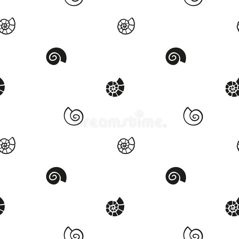 Vector abstract black and white repeatable pattern with seashells. Simple monochrome seamless backdrop stock illustration