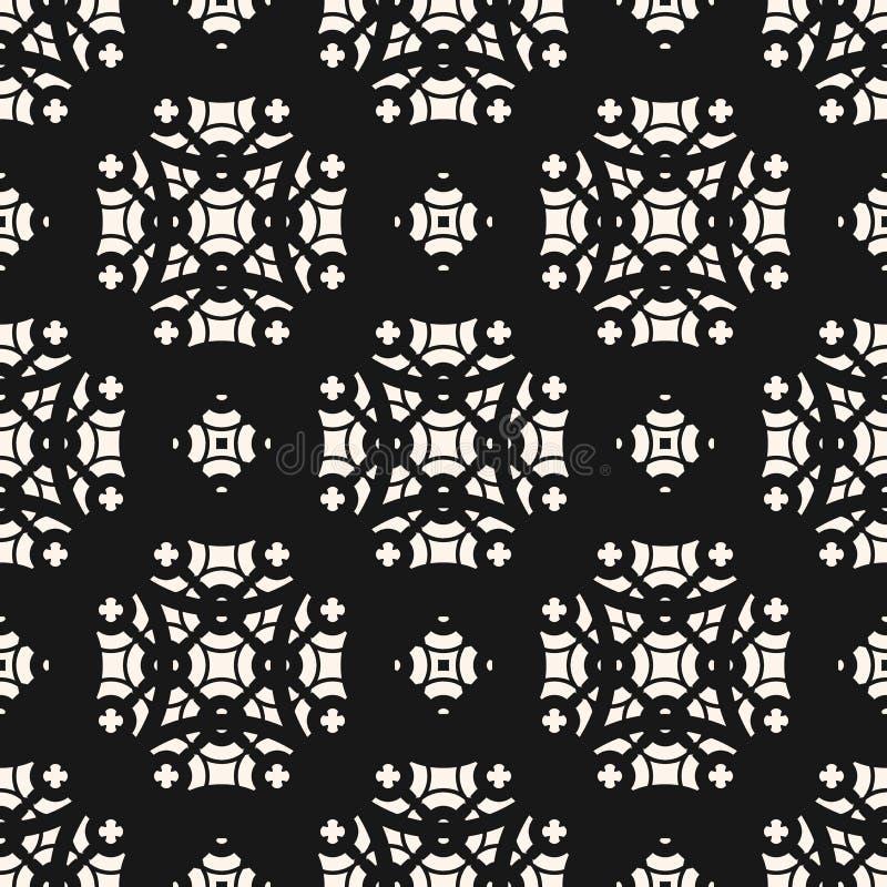 Vector abstract bloemen zwart-wit geometrisch naadloos patroon in oosterse stijl vector illustratie