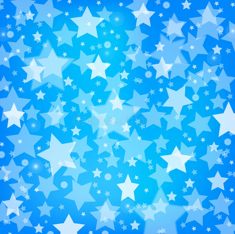 Vector abstract blue background with glitter stars stock illustration