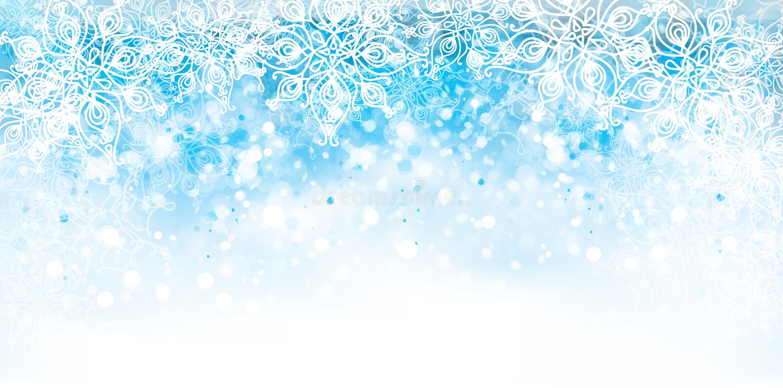 Vector abstract, blue, snowflake background. vector illustration