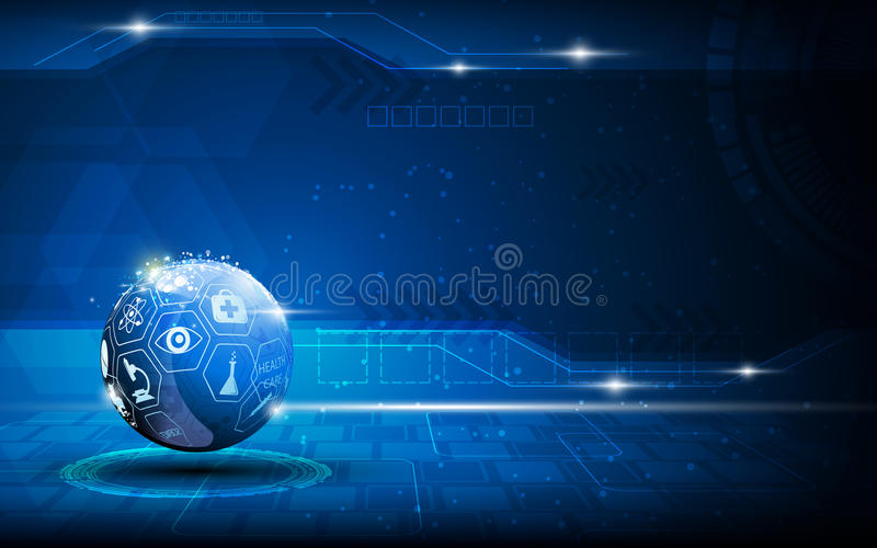 Vector abstract blue sphere medical and health care innovation concept background royalty free illustration