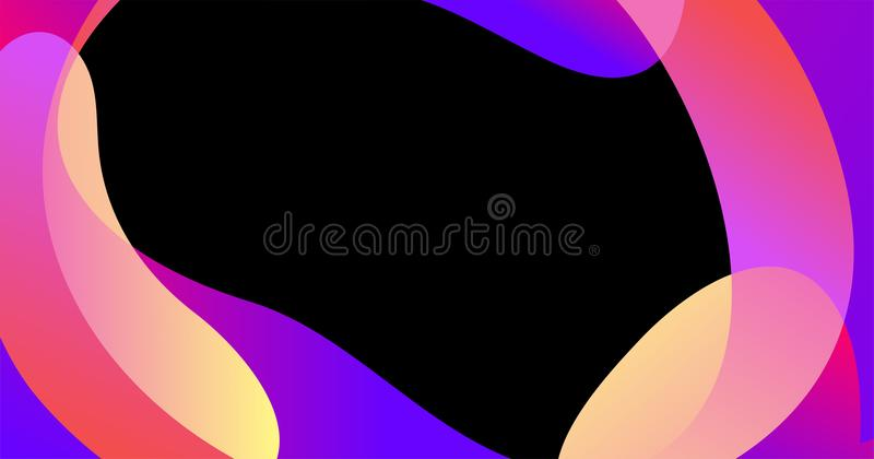 Slider template of fluid organic shapes. Liquid effect background. Vector abstract blur wave shapes in gradient iridescent colors effect soft transition. Slider vector illustration