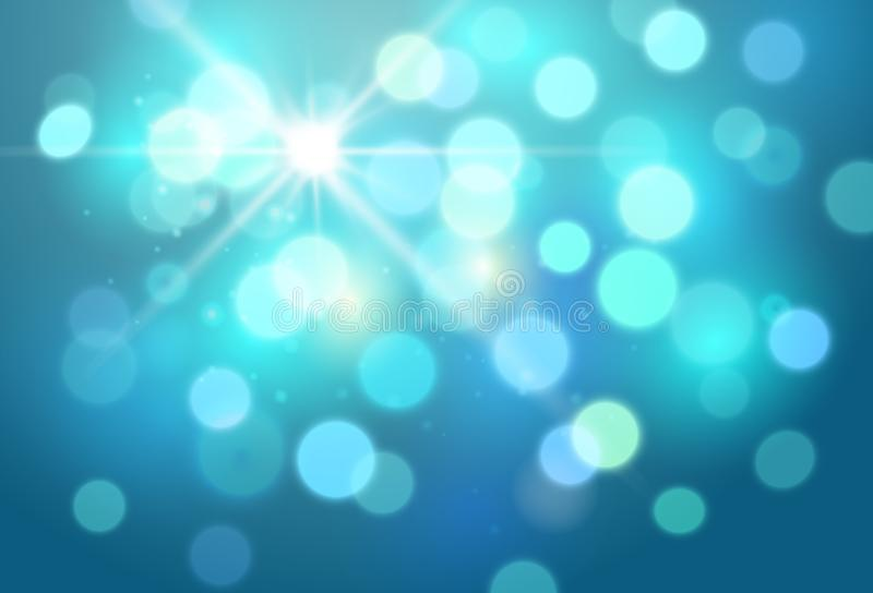 Vector abstract bright blue background with blurred lights and sparkles.  stock illustration