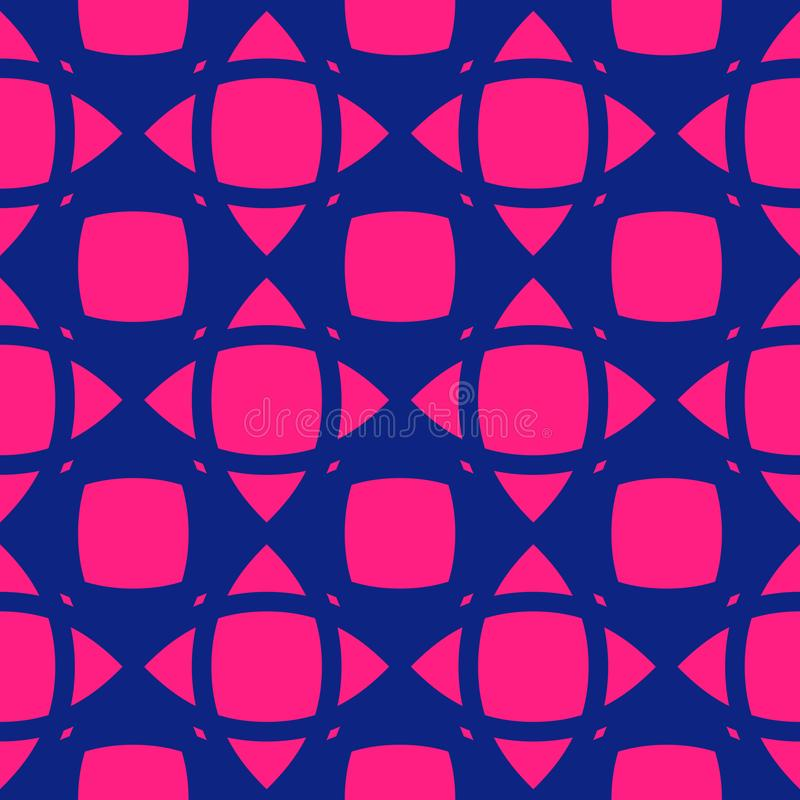 Vector abstract bright pink and navy blue geometric seamless pattern royalty free illustration