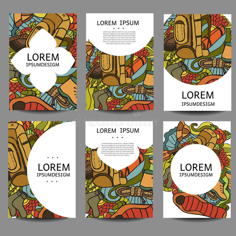 Vector Abstract Brochures Recreation. Tourism And Camping In ...
