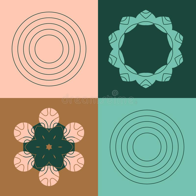 Vector abstract bronze, forest, rose, spearmint pattern with geometric and flower shaped elements. Decorative ornament stock illustration