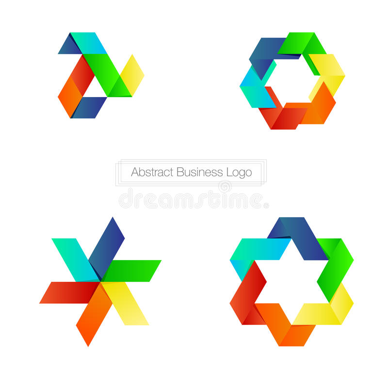 Vector : Abstract business logo with colorful ribbon style on wh. Ite background , Logo concept vector illustration