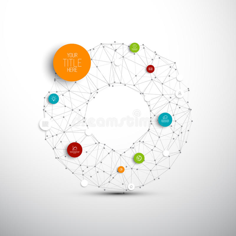 Vector abstract circles illustration / infographic network template royalty free illustration
