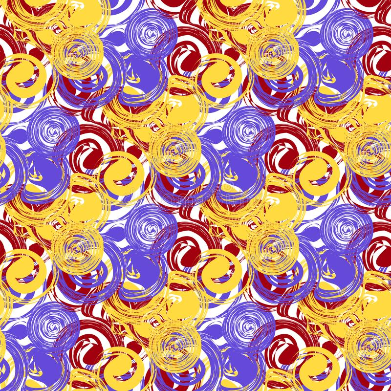 Vector abstract circular seamless pattern. Yellow-red-blue royalty free illustration