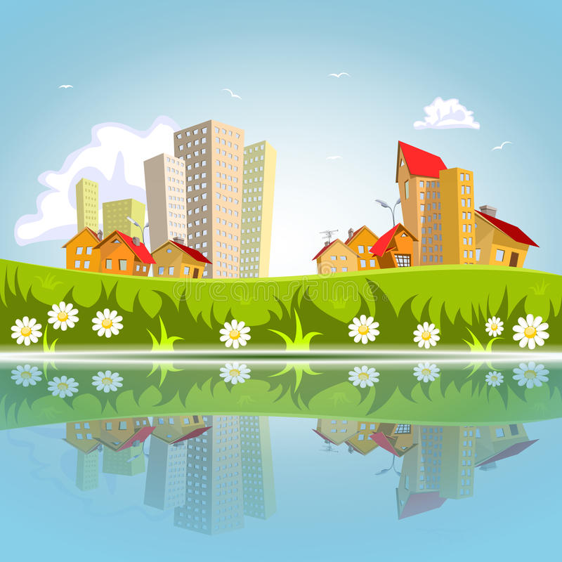Free Vector Abstract City Reflected On The Water Stock Images - 40298824