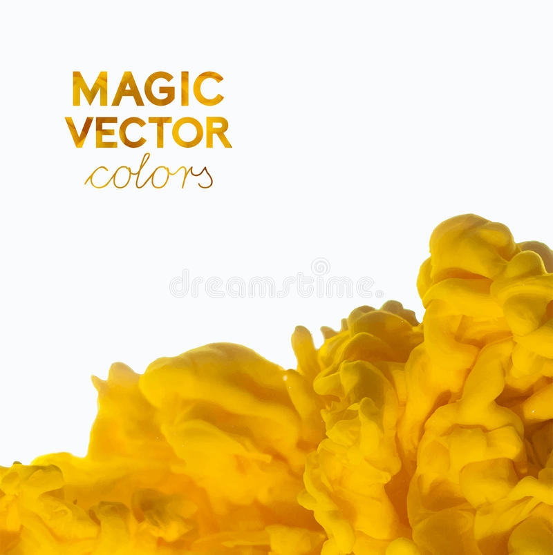 Vector abstract cloud. Ink swirling, cloud of ink isolated on white. Abstract banner paints. Holi. Orange juice. Holi. Juicy orang stock illustration