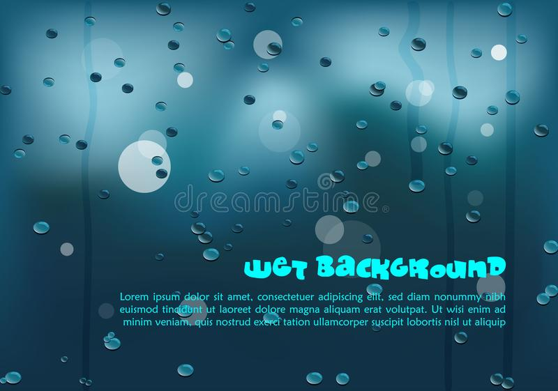 Vector abstract colorful background in blue color with water drops. EPS10 vector illustration