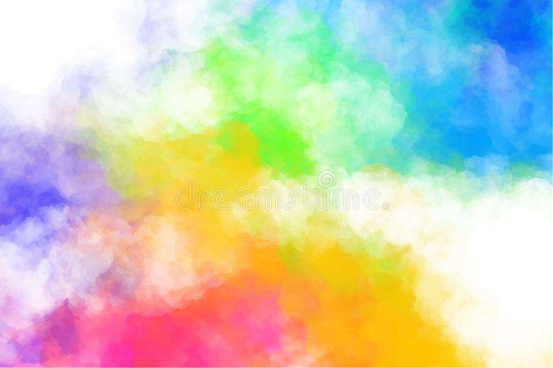 Vector abstract colorful background with colorful clouds, smoke, multicolor dust, paint. Multicolored concept. Illustration with realistic clouds of Holi paint vector illustration
