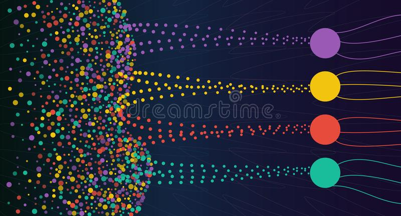 Vector abstract colorful big data information sorting visualization. royalty free illustration