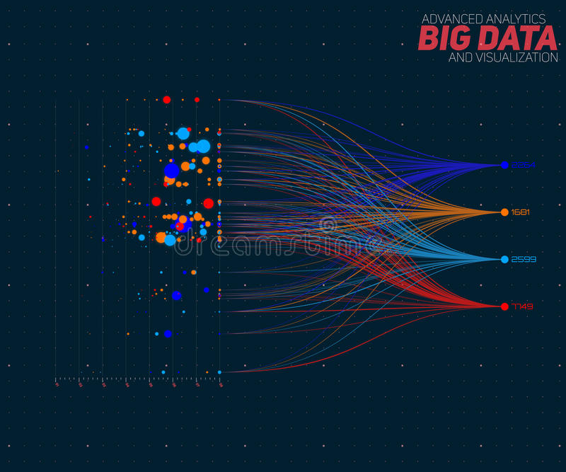 Vector abstract colorful big data information sorting visualization. Social network, financial analysis of complex. Databases. Visual information complexity vector illustration