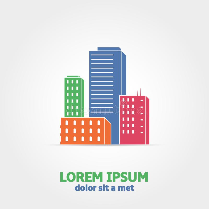 Vector abstract colorful city icon royalty free illustration