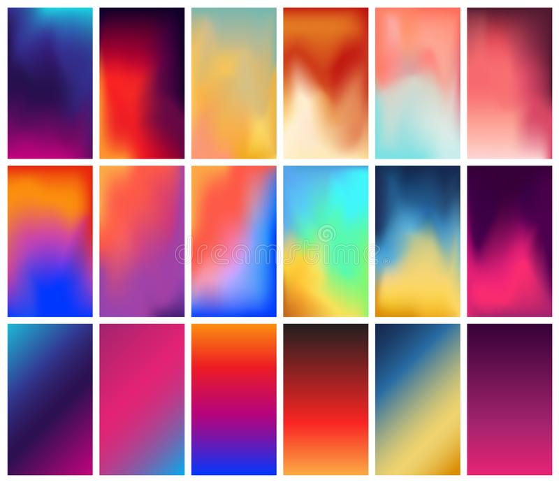 Vector abstract colorful holographic gradient backgrounds abstract gradient blurs trendy vibrant fluid colors royalty free illustration