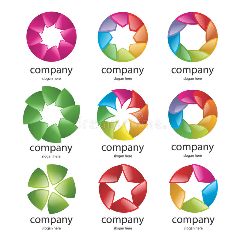 Abstract multicolored logo of the petals royalty free illustration