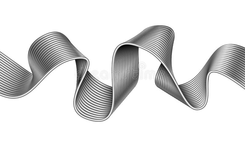 Vector abstract curved line made of metal ribbon. Mobius stripe wave illustration royalty free illustration
