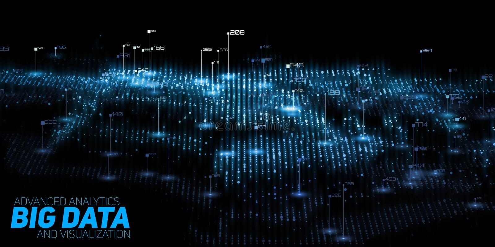 Vector abstract 3D big data visualization. Futuristic infographics aesthetic design. Visual information complexity. Intricate data threads graphic. Social