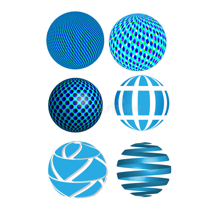 Vector abstract 3D blue spheres, globes, graphic design icons, abstract circles. Vector abstract 3D blue spheres, globes, graphic design icons. Fully editable royalty free illustration