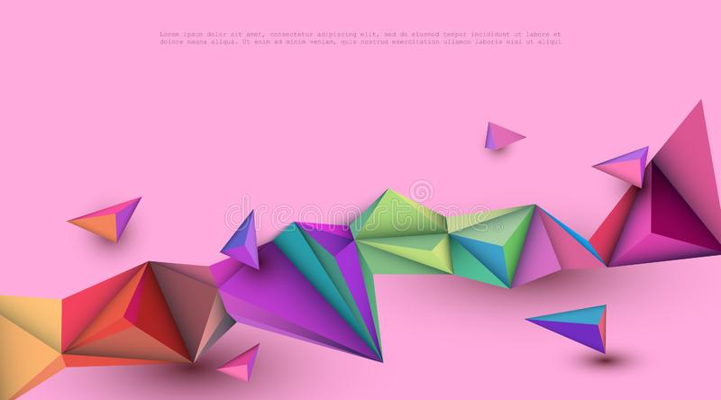 Vector Abstract 3D Geometric, Polygon  polygonal , Triangle pattern shape. Multicolored, blue, purple, yellow and green royalty free illustration