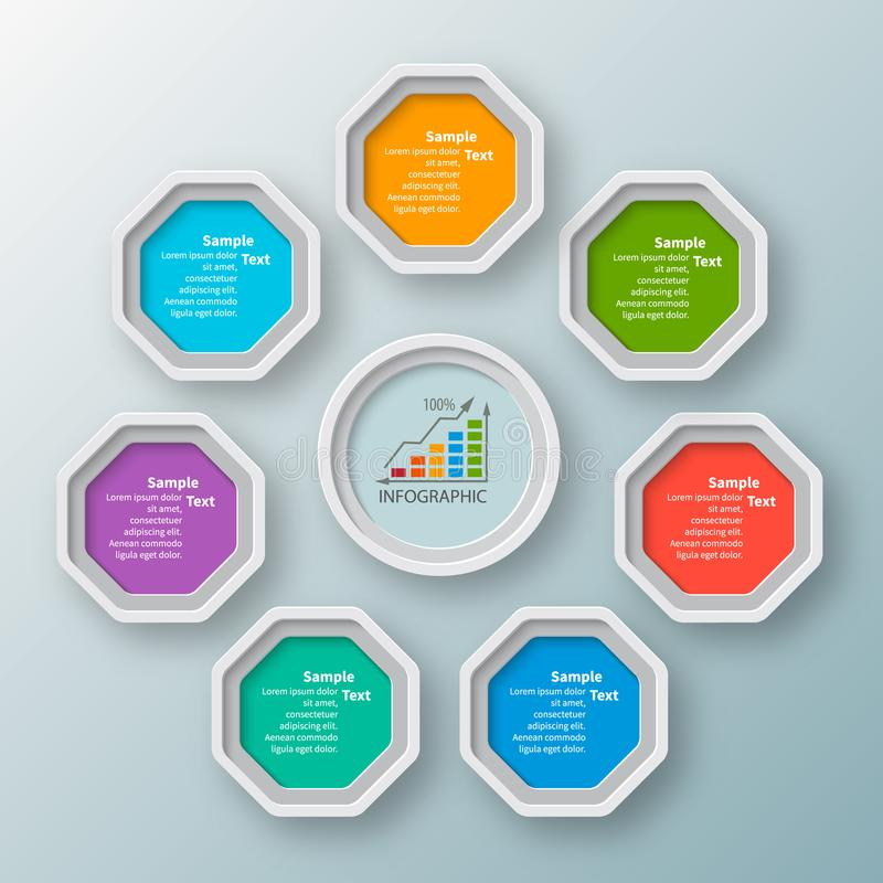 Abstract 3D Paper Infographics royalty free illustration