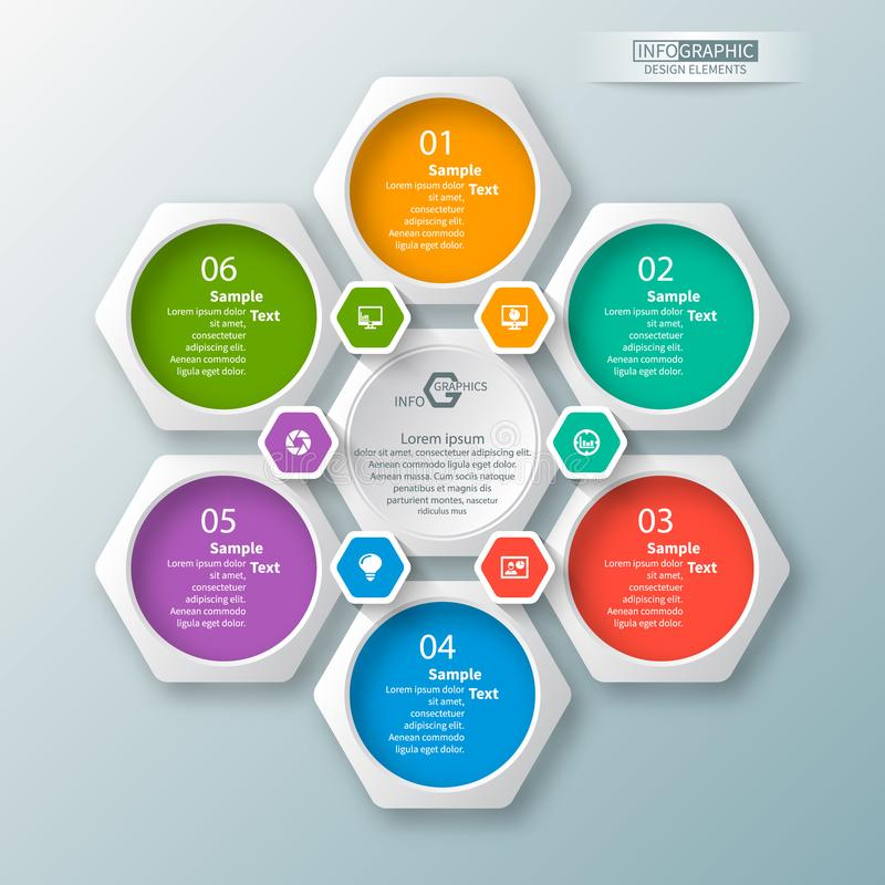 Abstract 3D Paper Infographics. Business template .Vector illustration. Vector abstract 3d paper infographic elements.Hexagon infographics.Honeycomb design stock illustration