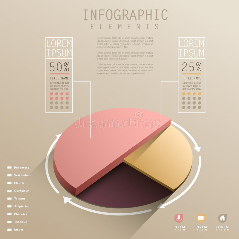 Vector abstract 3d pie chart infographics stock illustration