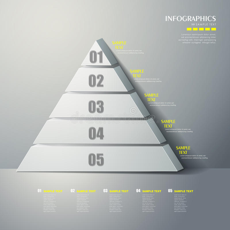 Vector abstract 3d Pyramid type infographics stock illustration
